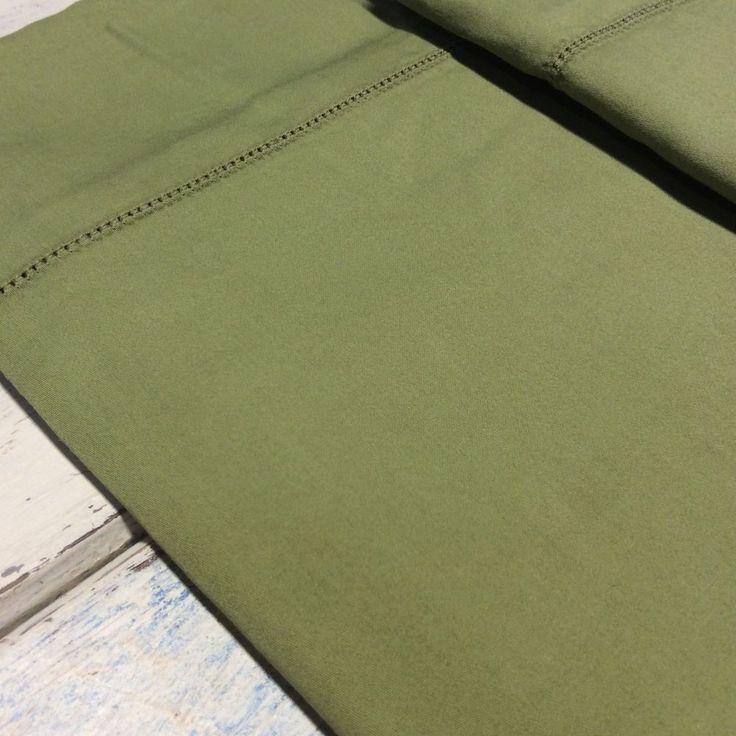 Signoria RAFFAELLO KING Pillow Shams (2) Moss Green Hemstitch Sateen ITALY  | eBay