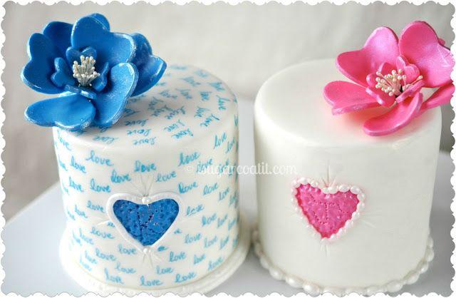 Pink Heart & Blue Love Mini Cakes