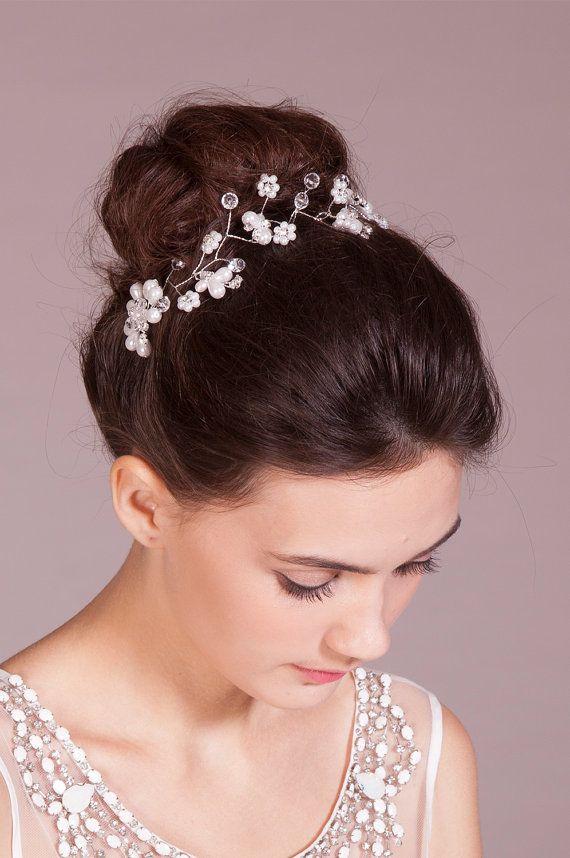 Glory bridal crystal and beaded headband  fern leaf and by STHNAB, $38.00