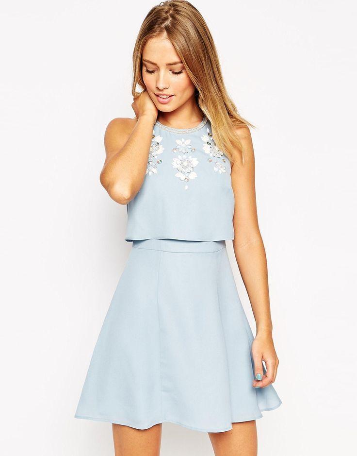 Image 1 ofASOS Embellished Crop Top Skater Dress