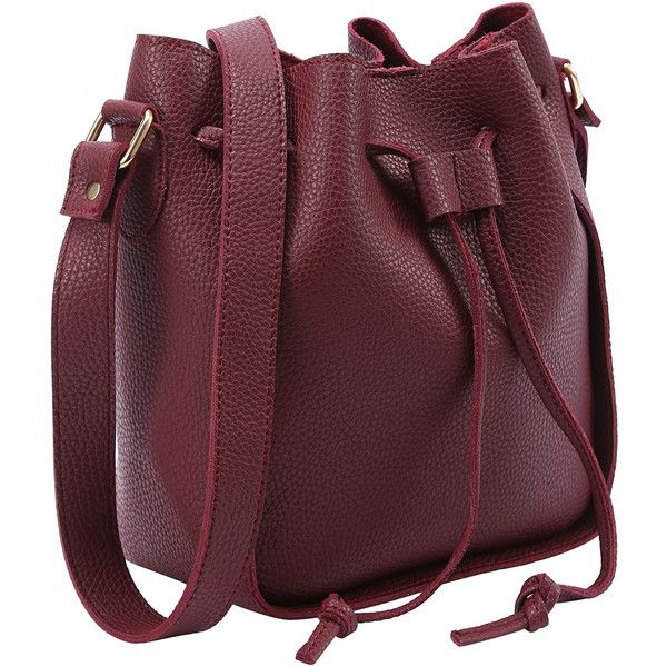 SheIn(sheinside) Embossed Faux Leather Drawstring Bucket Bag -... (260 ZAR) ❤ liked on Polyvore featuring bags, handbags, shoulder bags, drawstring purse, bucket bags handbags, red handbags, bucket bags and vegan handbags
