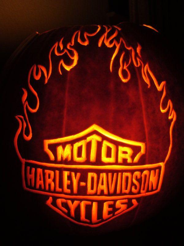 Harley Davidson Flame Pumpkin by DistantVisions.deviantart.com