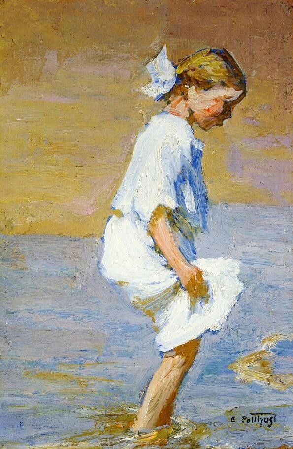 Edward Potthast, American Impressionist, Wading at the Shore, oil