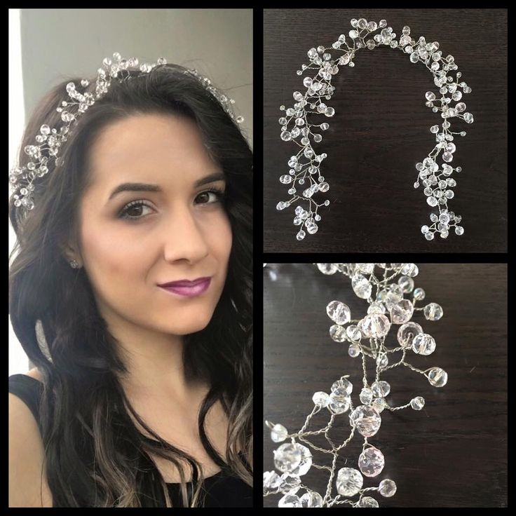 Bridal hair accessories, clear and rose crystals