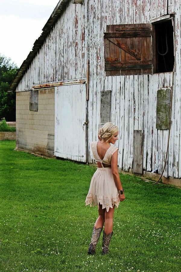 "I love this dress... Should be more modest though ""Honeysuckle Rose Party Dress with Cowboy Boots"""