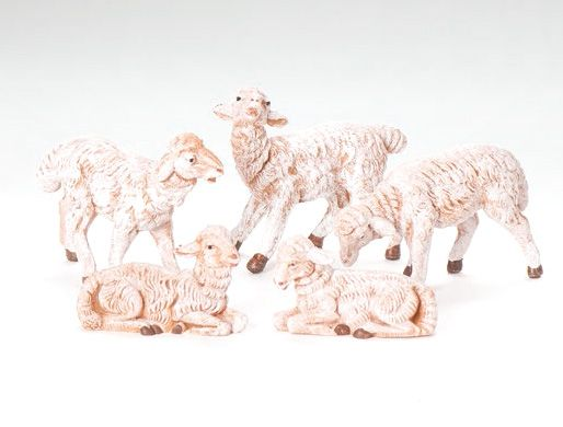5 Inch Scale White Sheep - Set by Fontanini