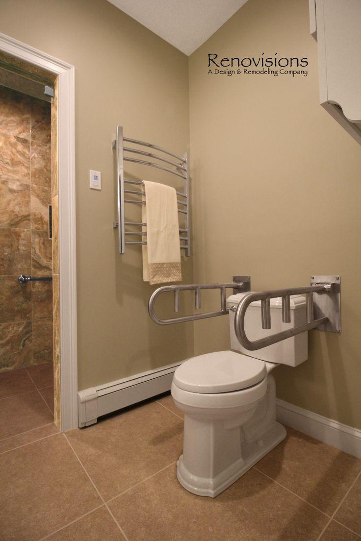 Installing grab bar in bathroom - Master Bathroom Remodel By Renovisions Tile Shower Safety Grab Bars Walk In