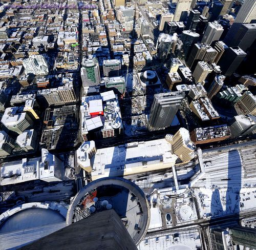 Stock Photo titled: Birds Eye View Of Toronto Convention Center From The CN Tower In Winter, unlicensed use prohibited