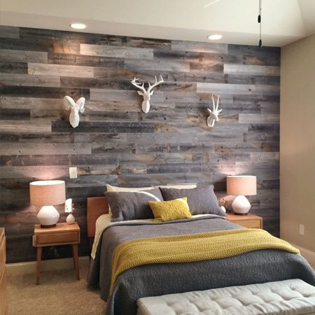 Marine plywood with a 3mm or 6mm thickness might cost more than alternatives, but you can use different stains to replicate a reclaimed plank wall that is light enough to mount with ease.