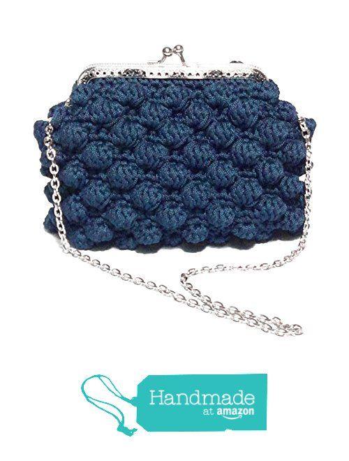 AGATA - Pochette da donna blu. Borsetta clutch, realizzata a mano con uncinetto e chiusura clic clac vintage color argento da Italian Craft Handmade https://www.amazon.it/dp/B01MR2BBDG/ref=hnd_sw_r_pi_awdo_gvzCzbCW3T58B #handmadeatamazon