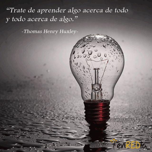 """""""Trate de aprender algo acerca de todo y todo acerca de algo."""" -Thomas Henry Huxley-   #frasescélebres #notas #citas #quote #positivo #redessociales #communitymanager #socialmediamarketing #socialmedia #sm #marketing #enredia"""