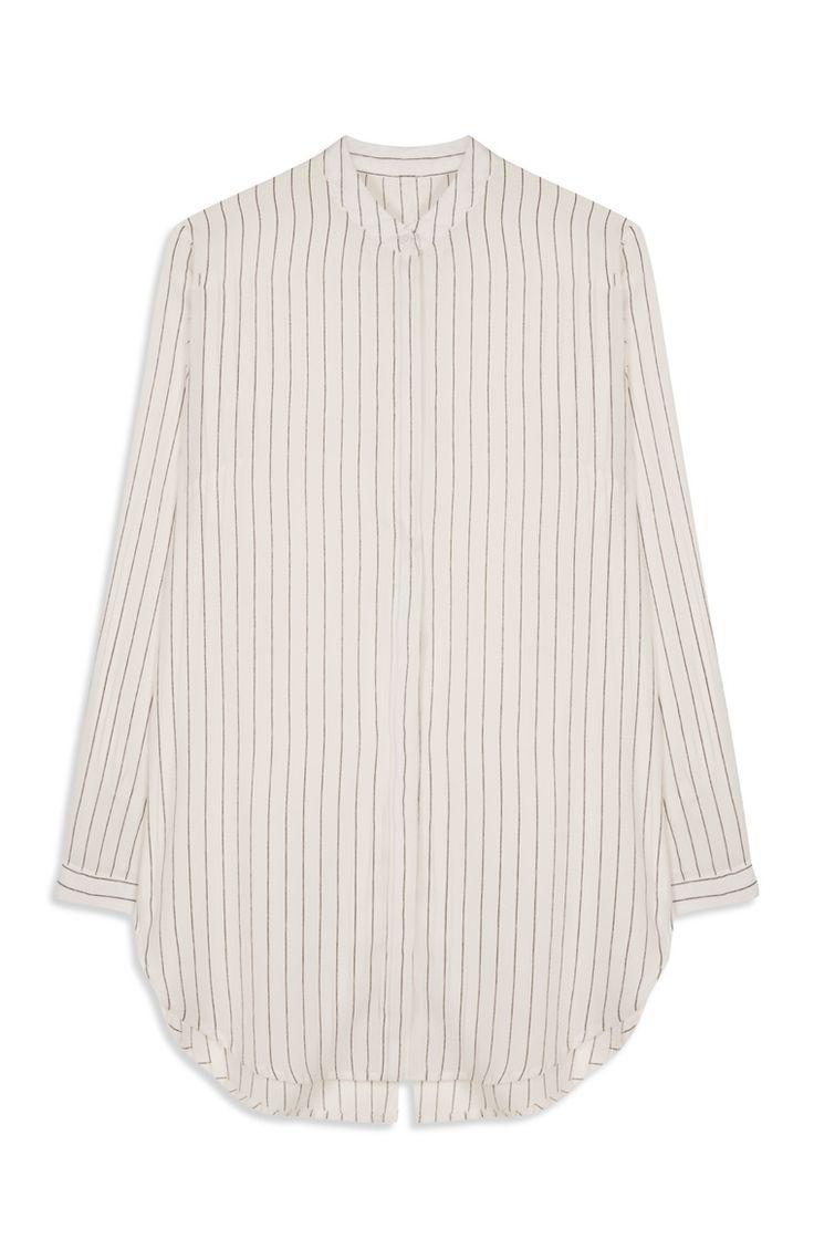 White Stripe Split Back Shirt