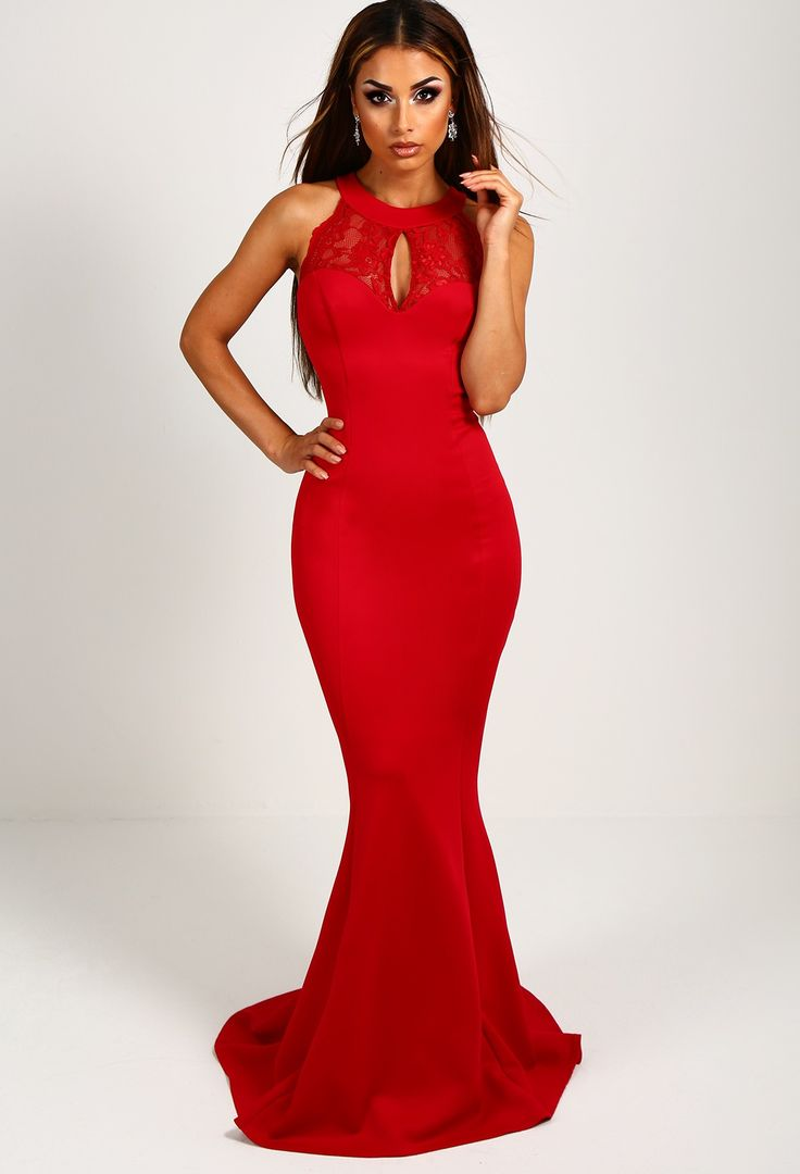Elizabeth Red Lace Backless Maxi Dress | Pink Boutique