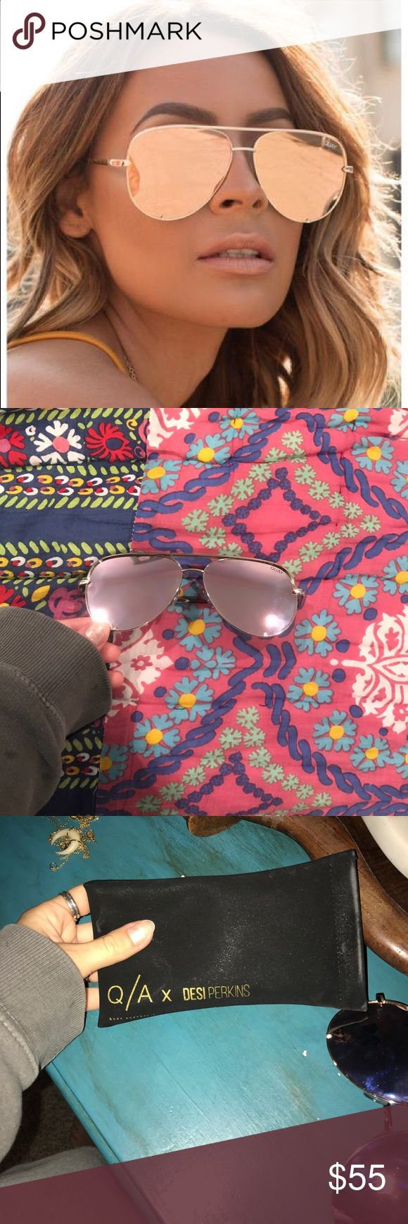 Quay High Key sunglasses gold Quay Australia Brand. Women's gold high key sunglasses. Perfect sunglasses and comes with case. Purchased these and accadiently got the wrong color! Quay Australia Accessories Sunglasses