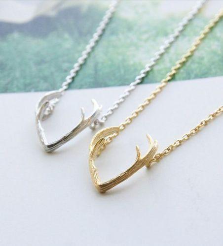 Gold or Silver Deer Antler Necklace