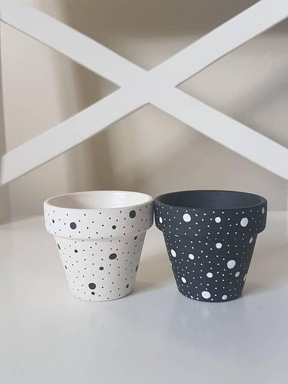 Set Of Two Hand Painted Flower Pots Black And White Etsy Painted Pots Diy Painted Flower Pots Decorated Flower Pots