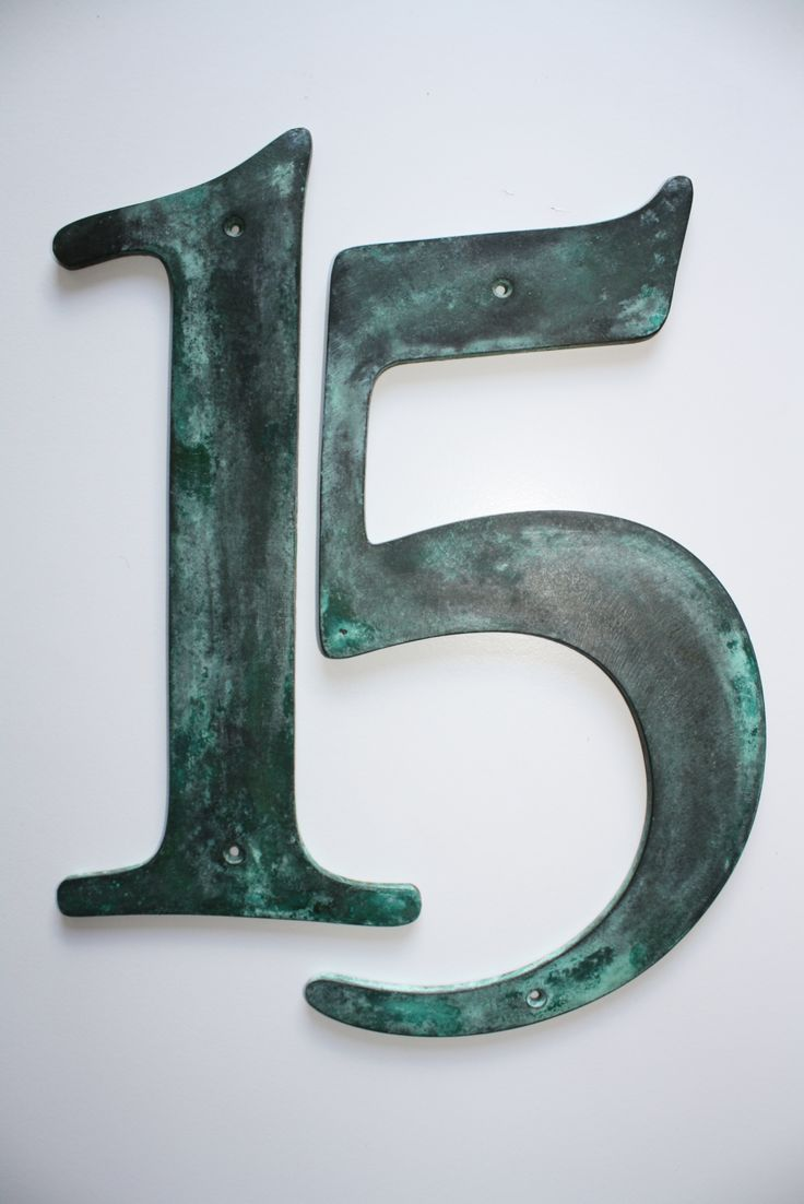 'Ruby' House Numbers in solid bronze, pictured in a verde green patina. 300mm, 900gm. NZD$227. Enquire to purchase