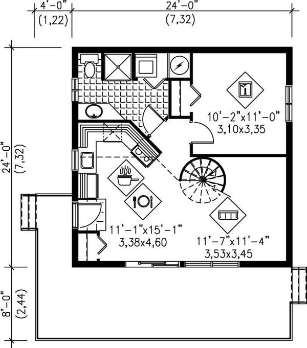 Main floor plan no spiral just ladder to loft 24x24 for 24x24 two story house plans
