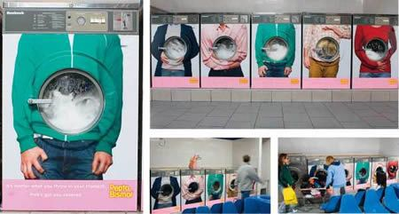 """This creative guerrilla campaign promotes the heartburn medicine, Pepto-Bismol.  The campaign uses washing machines at laundromats to show the midsection of various people suffering from heartburn pain, with the washing machine window forming their tummy. The image is coupled with the slogan, """"No matter what you throw in your stomach, Pink's got you covered."""""""