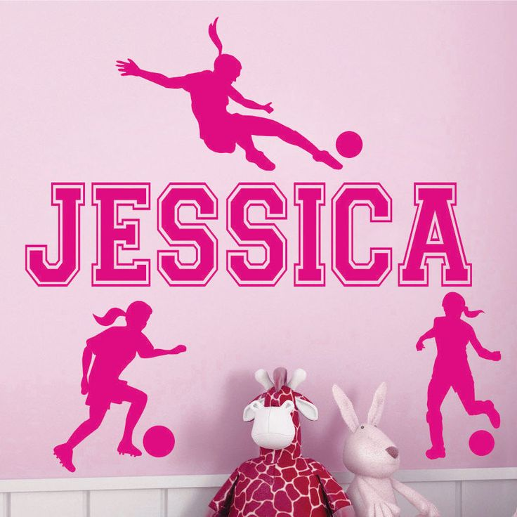 Personalized Name and SOCCER Vinyl Wall Decals Art Stickers for Kids GIRLS. $16.99, via Etsy.