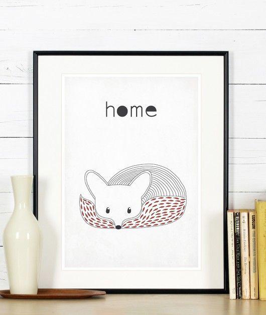 dodatki - plakaty, ilustracje, obrazy - grafika-Plakat skandynawski A3 - minimalizm - lis - home
