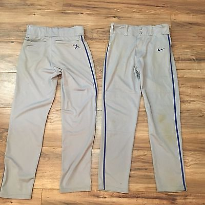 Nike-Size-L-Boy-039-s-Dri-Fit-Swingman-Baseball-Pants-Gray-Blue-Piped-Lot-of-2-A2