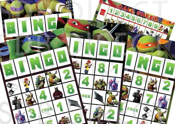 Ninja Turtle Bingo Game, Ninja Turtle Party Games, Ninja ...