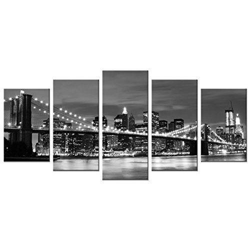 Home Office Decoration Brooklyn Bridge Night Modern Canvas Prints Wall Art NEW #HomeDecor