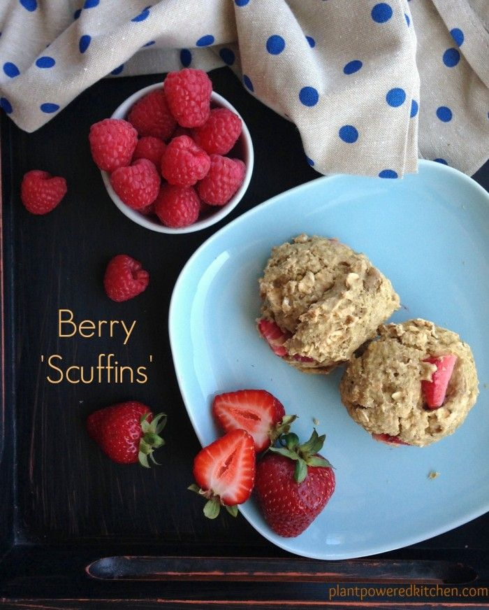 "Berry ""Scuffins"" (think I may try this with an appropriately-flavored Whole Soy berry yogurt and reduce or eliminate the maple syrup…)"