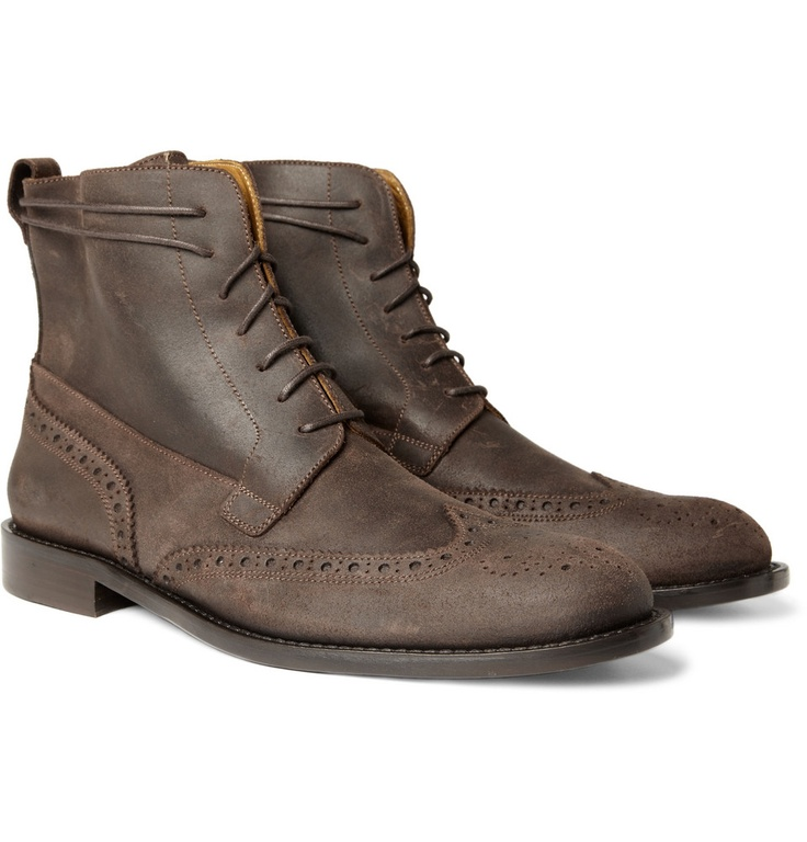 Billy Reid Oiled Suede Wingtip Brogue Boots from MR PORTER. I really like the dusty brown.Mens Shoes Boots, Bootsfrommr Porter, Suede Wingtip, Billy Reidoil, Lace Up Boots, Reidoil Su, Brogues Bootsfrommr, Men Fashion, Wingtip Brogues