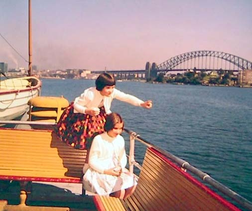Manly ferry on Sydney Harbour, Sydney Harbour Bridge in background, 1961. NAA: A1500, K6506