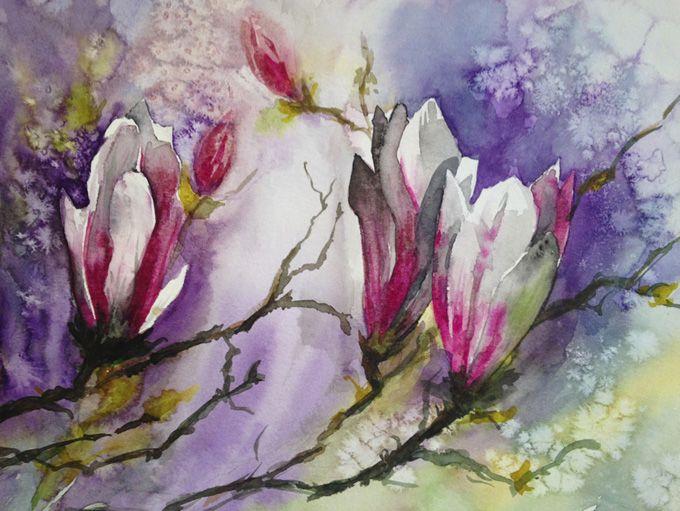 Aquarelle Magnolias Fleur Tableau Peinture Watercolor Fleur