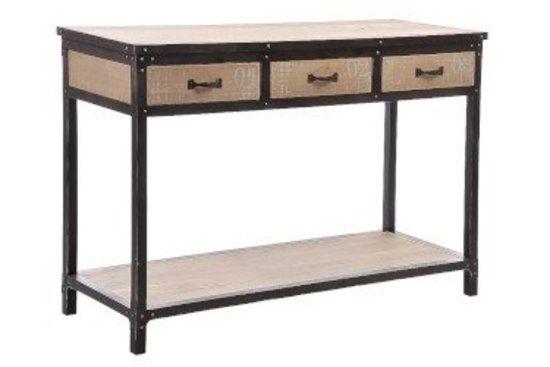 Industry console tafel hout & metaal met 3 laden
