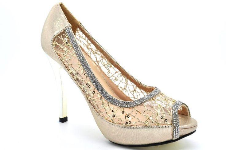 High Heel Platform Peep Toe Evening Diamante Sandal with Metal Heel.