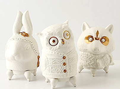 Owl, rabbit, and raccoon candles from Anthropologie