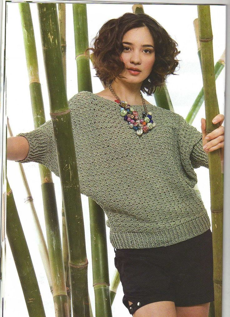 Dolman sleeve crochet blouse,  Would be great with multi coloured yarn