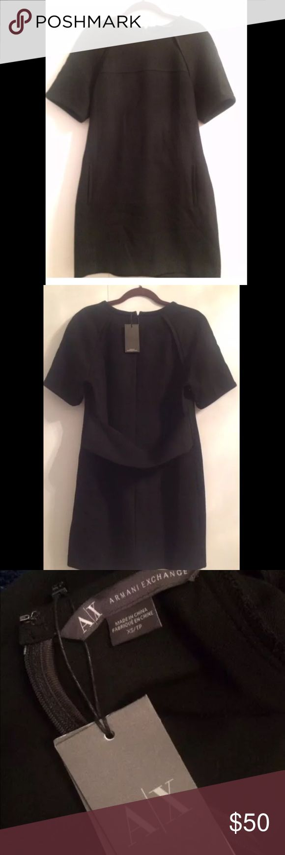 A/X Armani Exchange Short Sleeve Sheath Dress NWT A/X Armani Exchange short Sleeve Sheath Dress Black Size XS  Zip back closure with hook and eye Perfect fabric for all year round Great with boots and heels Can be dressed up or down easily! Retails for $170 Brand new with tags A/X Armani Exchange Dresses Mini