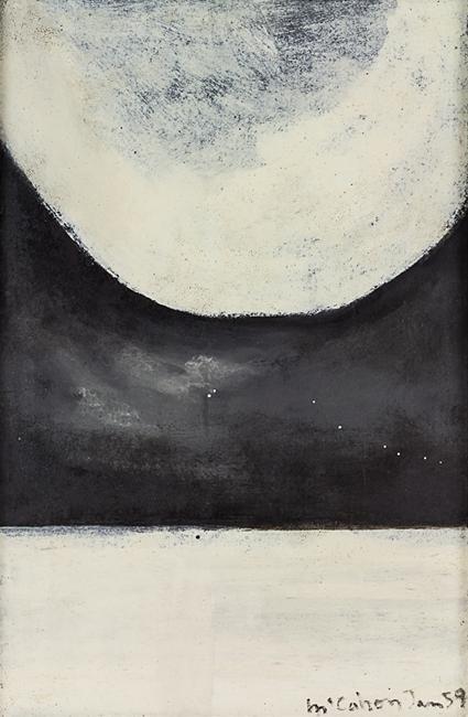 Colin McCahon: Black White Landscape, enamel on hardboard (1959)