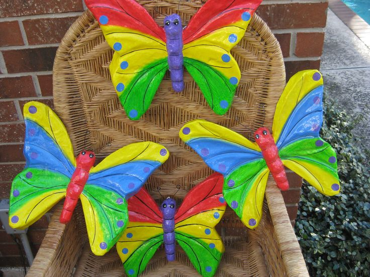 Huge Mexican Made Butterflies with Wonderful Bright Colors, 2 with Purple Bodies, 2 with Red Bodies.  CRAFTING IDEAS FOR kIDS. by PatsyTexasRose on Etsy