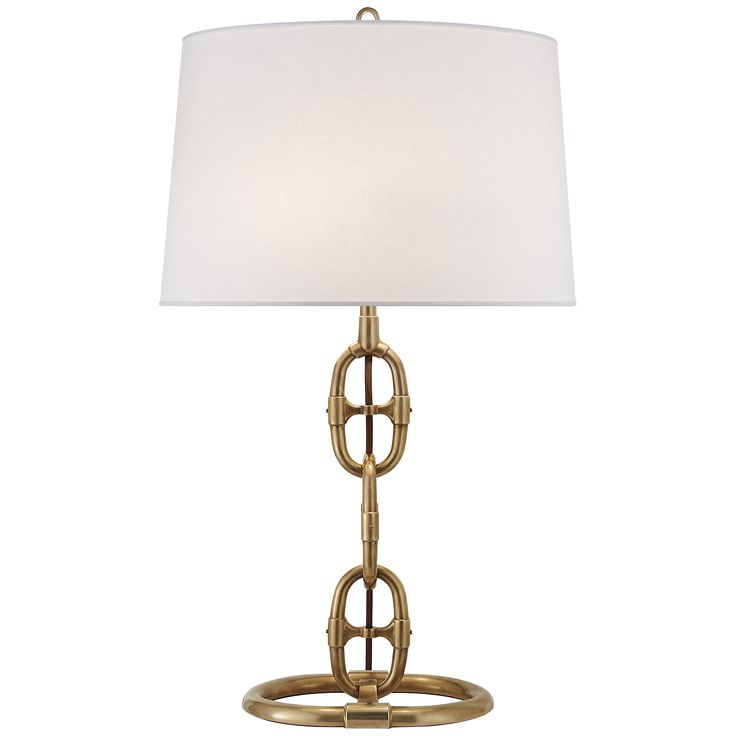 Pottery Barn Horse Bit Lamp: Horse Bit Table Lamp. With Gold Metal Base And Ivory Shade