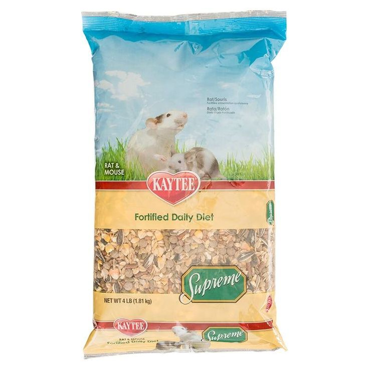 4lb Kaytee Supreme Mouse and Rat food offers quality, nutritious ingredients in a mix that small animals love. Best of all, the clean, wholesome ingredients offer proteins, fiber, and other nutrients to help small animals stay strong and healthy. Small an