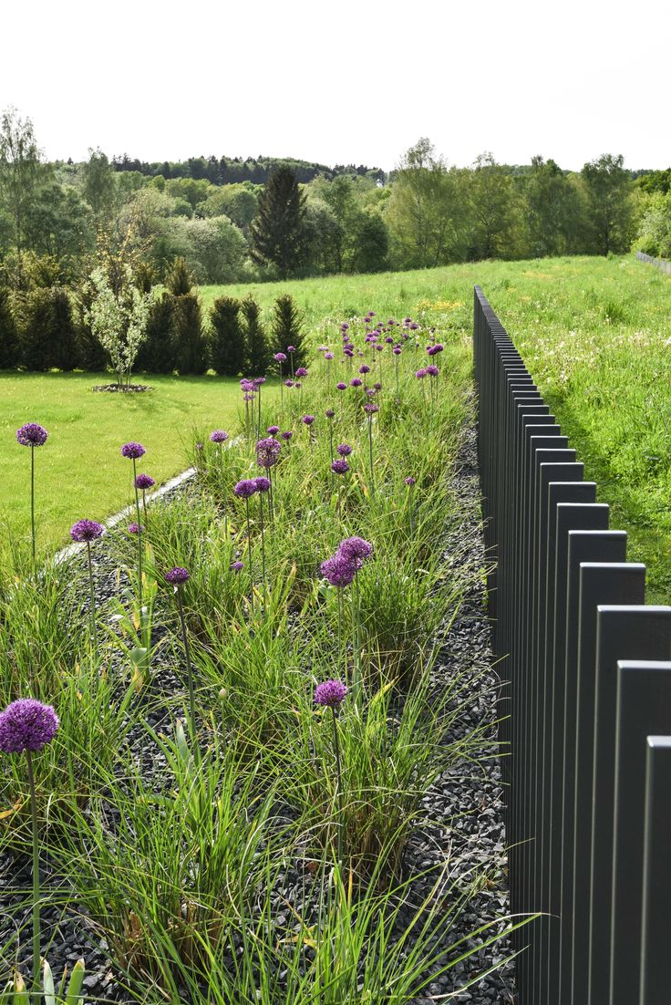 black timber posts provide great framing of garden; good contrast to the greenery that surrounds it