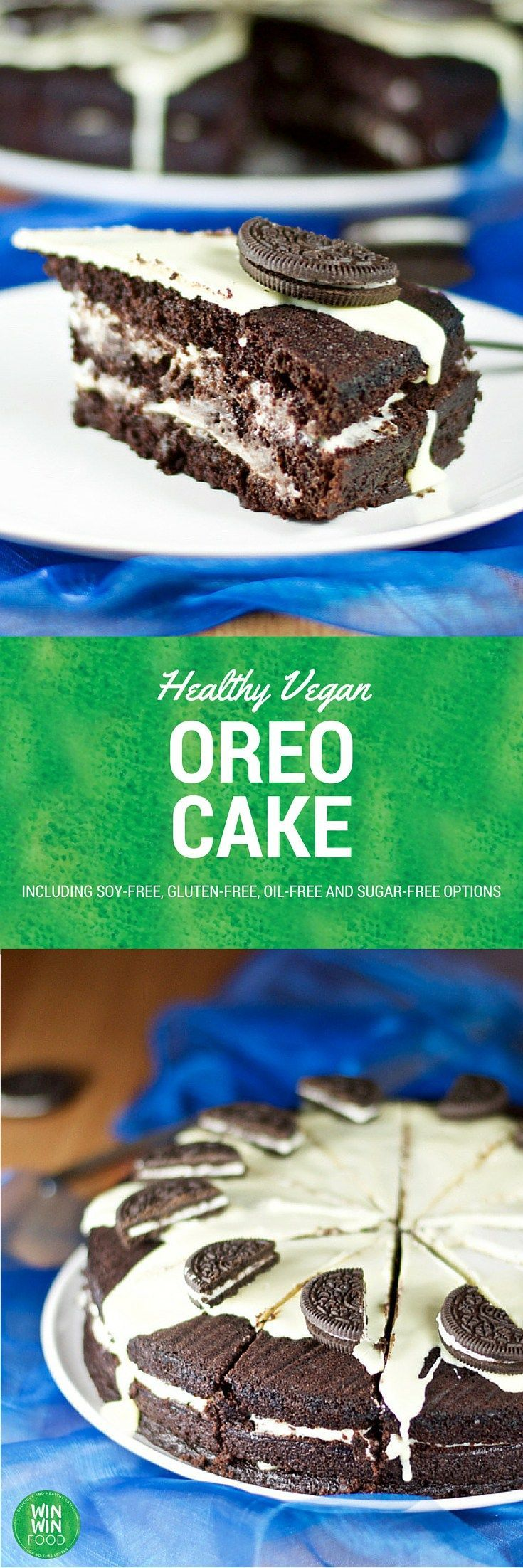 Healthy Vegan Oreo Cake | WIN-WINFOOD.com #healthy #vegan and optionally #glutenfree and #sugarfree dessert that's super addictive!