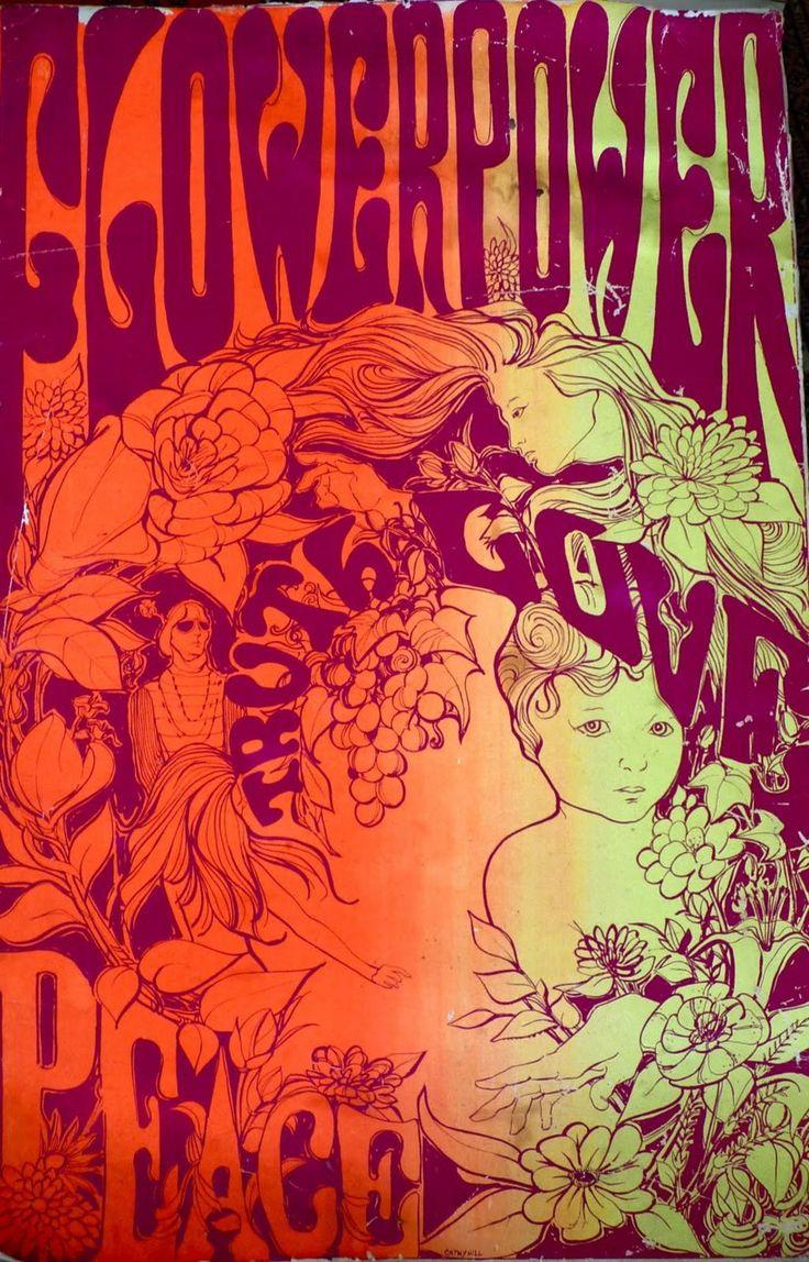 Love flower power daisy graffiti print cotton fabric 60s 70s retro - Flower Power Poster Truth Love Peace 1967