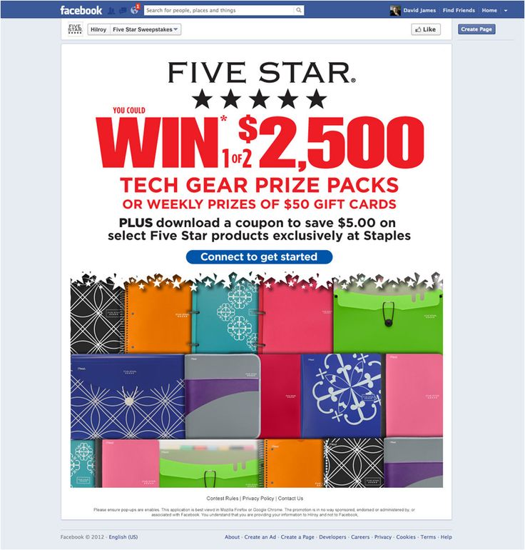 Acco Brands Five Star Facebook Contest Page