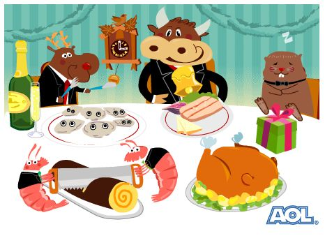 Voeux AOL 2005 - Illustration, animation Flash et composition musicale : Romain Ricaud (tous droits réservés) - #Flash #Music #Wishes #BestWishes #Cow #marmotte #christmas #DJ #xmas #lol #funny #illustration #coucou #champagne