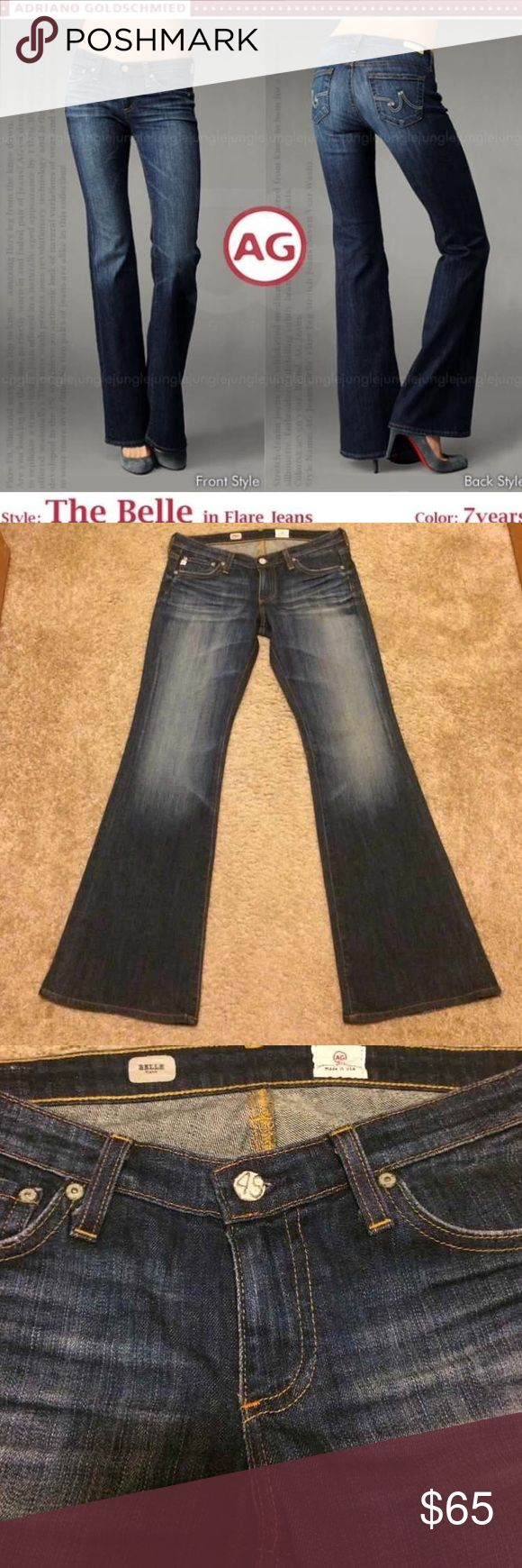 AG Adriano Goldschmied Belle Flare Jeans 7 yr AG Adriano Goldschmied Belle Flare Jeans in 7 year wash, size 28.  Distressing throughout, excellent condition. AG Adriano Goldschmied Jeans Flare & Wide Leg