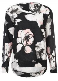 Trui met bloemenprint multicolor  -Sweatshirt met binnenstebuiten effect  -Grafische bloemendessin  -Recht model  -Sportieve band op de mouw  EUR 79.95  Meer informatie