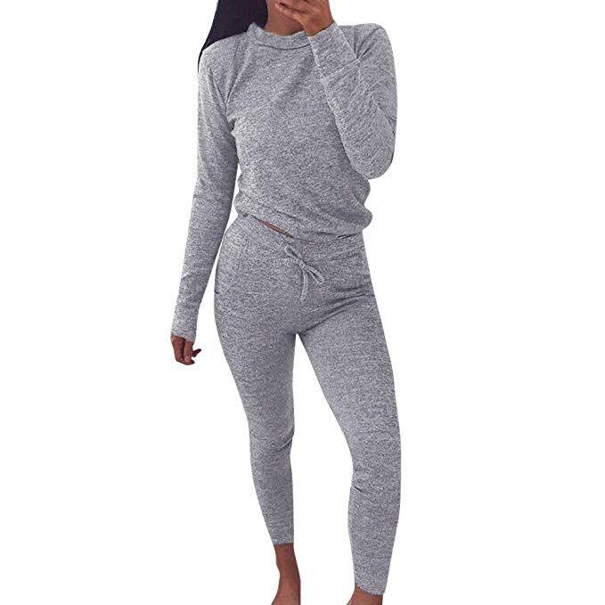 UK Womens 2 PCS Tracksuits Sets Joggers Active Loungewear Ladies Tops Suit Pants