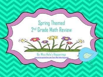 This product is a Spring Themed Second Grade Math Review.-Skills included: fractions, adding and subtracting with/without regrouping, word problems, telling time, area, perimeter, measuring, comparing numbers, and place value.-It includes 20 task cards that can be used as a write the room, scoot, and much more.-Also included is a recording sheet for students to log their work.-Common Core Aligned